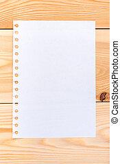 un, hoja de papel, en, tablas de madera, -, blanco, para, escritura
