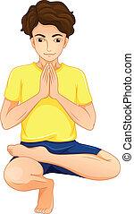 un, hombre, amaestrado, yoga
