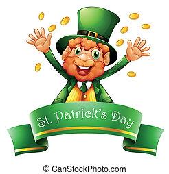 un, hombre, celebrar, s. día patrick, con, coins