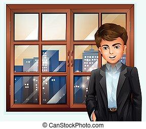 un, hombre, cerca, el, ventana