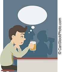 un, hombre, con, cerveza, en, bar