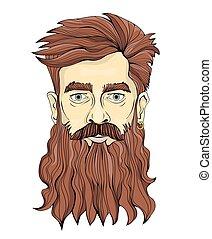 un, hombre, con, un, largo, barba, y, earring., vector,...