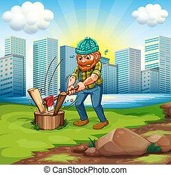 un, hombre, cortar, bosque, a través de, el, alto, edificios
