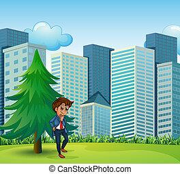 un, hombre de negocios, al lado de, el, pino, cerca, el, alto, edificios