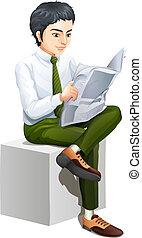 un, hombre de negocios, leer un periódico