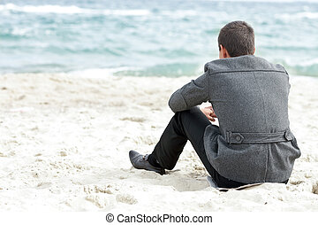 un, hombre de negocios, sentado on the beach, solamente, el...