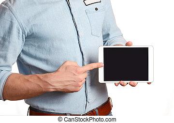 un, hombre, en, un, azul ligero, camisa, es, tenencia, computadora personal tableta, aislado, blanco, señalar con el dedo hacerlo/serlo, el, pantalla, computadora personal tableta