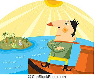 un, hombre estar de pie, en un bote, con, el suyo, armamentos cruzaron, mientras, mirar distancia, en, un, isla tropical