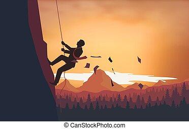 un, hombre montañismo, el, escalera de mano del éxito