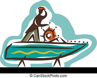 un, hombre, tener cuidado, a, el, mar, mientras, entrepuente, el suyo, barco, en tierra