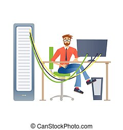 un, hombre, trabajando, con, un, servidor de computadora, o, un, render, farm., técnico, especialista, en, el, datos, center., vector, ilustración, aislado, en, white.