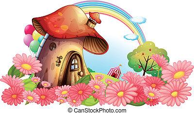 un, hongo, casa, con, un, jardín, de, flores