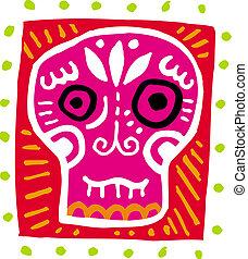 un, ilustración, de, un, rosa, cráneo, con, frontera