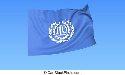 UN International Labour Organization ILO flapping flag....