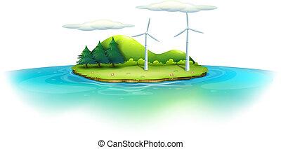 un, isola, con, mulini vento