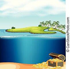 un, isola, e, subacqueo, tesoro