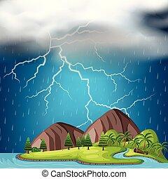 un, isola, e, temporale