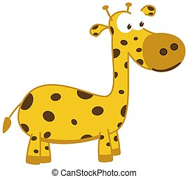 un, jirafa joven, sonriente, y, en perfil