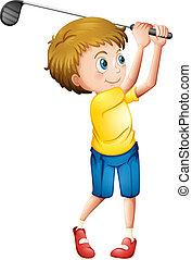 un, joven, jugando golf