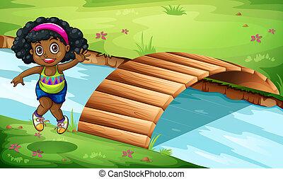 un, joven, niña negra, cerca, el, puente de madera
