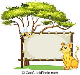 un, joven, tigre, y, un, abeja, al lado de, un, espacio vacío