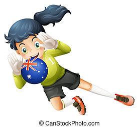 un, jugador, utilizar, el, pelota, de, australia