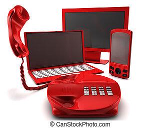 un, lío, de, cuatro, principal, telecomunicación, servicios