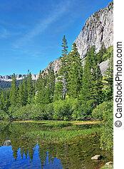 un, lago, en las montañas, de, california