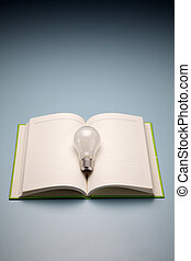 un, libro, y, lámpara