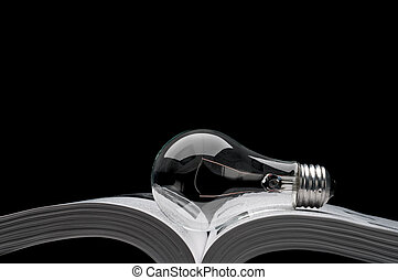 un, light-bulb, en, un, libro, actuación, ideas, de,...