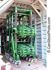 un, lineal, pipelay, tensioner, para, aceite y gas, industria, trabajo