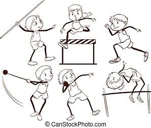 un, llanura, contorno, de, niños, atractivo, en, diferente, actividades