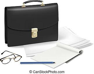 un, maletín, y, cuaderno