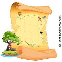 un, mapa del tesoro, con, un, isla