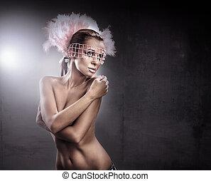 un, maravilloso, desnudo, belleza