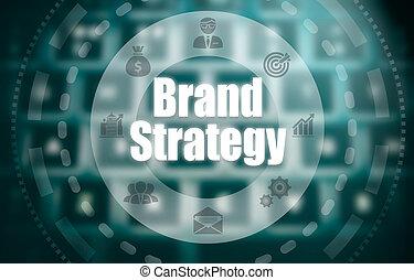 un, marca, estrategia, concepto, en, un, futurista, computadora, exhibición, encima, un, blured, imagen, de, un, keyboard.