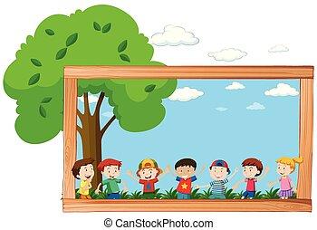 un, marco, de, niños, en, naturaleza