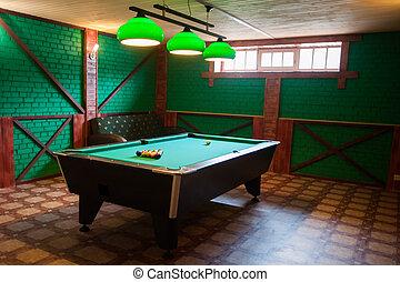 un, mesa de billar, con, pelotas
