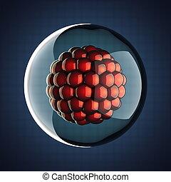 un, micro, célula, científico, ilustración