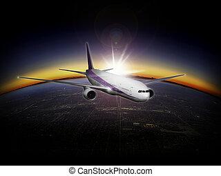 un, moderno, chorro, airliner