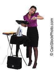 un, mujer de negocios, en, un, hurry.