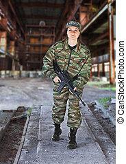 un, mujer, en, militar, operación