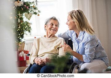 un, mujer mayor, en, sílla de ruedas, con, un, enfermera seguridad social, en casa, en, navidad, time.