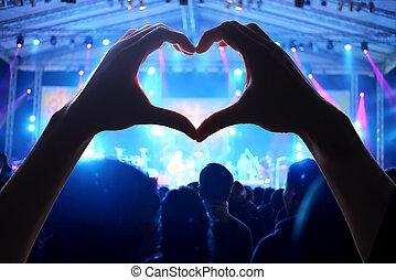 un, multitud, de, gente, concierto
