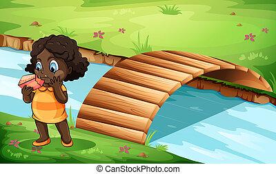 un, negro, niña, cerca, el, puente