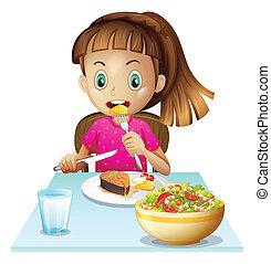 un, niña, comer el almuerzo