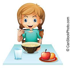 un, niña, comida, ella, desayuno