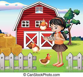 un, niña, con, su, cultive animales