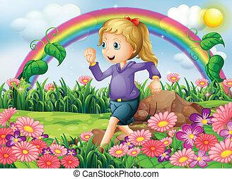 un, niña, corriente, en el jardín