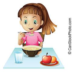 un, niña, desayunándose